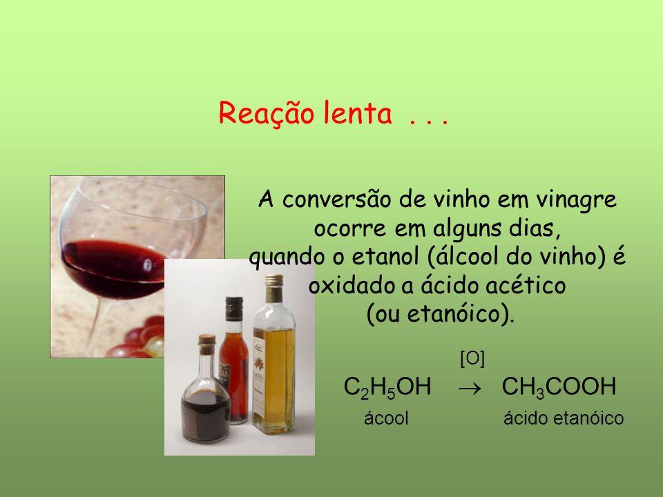 Reação lenta . . . [O] A conversão de vinho em vinagre